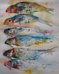 ATELIER DE LA PETITE MER - Les aquarelles d'Olivia QUINTIN en Bretagne poissons