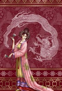 Girl with dragon. Chinese.