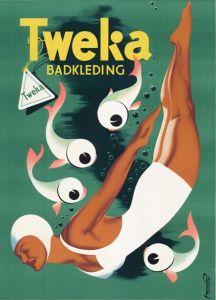 Poster by Frans Mettes (1909-1984), Tweka Badkleding. (Netherlands)